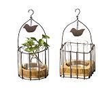 Wire Cage w/glass Bird
